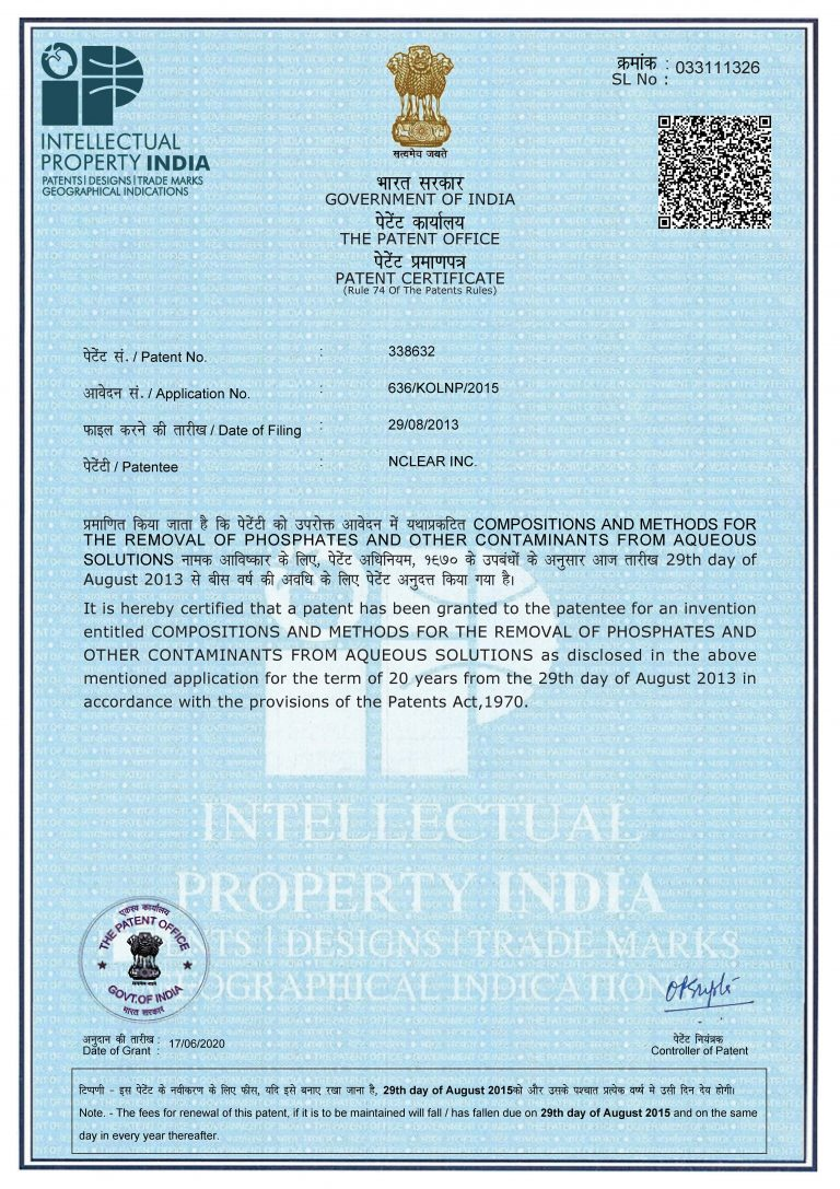 India Patent Office issues patent for TPX™